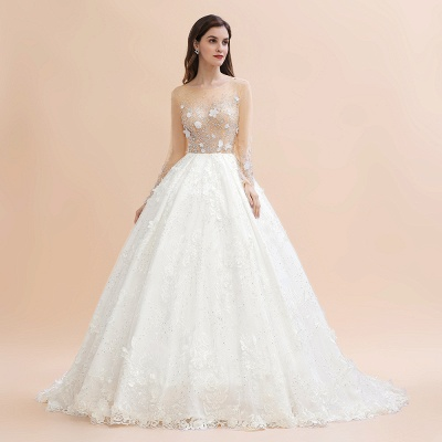 Charming Floral Lace Appliques Wedding Dress Gorgeous White Beads Bridal Gown_6