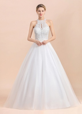 Gorgeous Halter Rhinstones Wedding Dress White Lace Appliques Tulle Garden Bridal Gowna_1