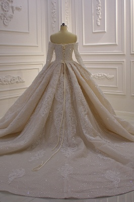 Long Sleeves Ball Gown Off-the-shoulder Sequins Wedding Dress_7