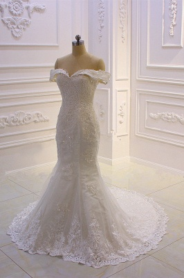 Sweetheart Lace Appliques Off-the-Shoulder Detachable Train Wedding Dress_5
