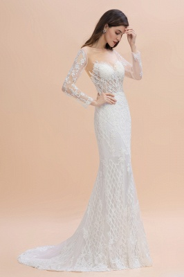 Luxury Beaded Lace Mermaid Wedding Dresses Tulle Appliques Bride Dresses with Detachable Train_5