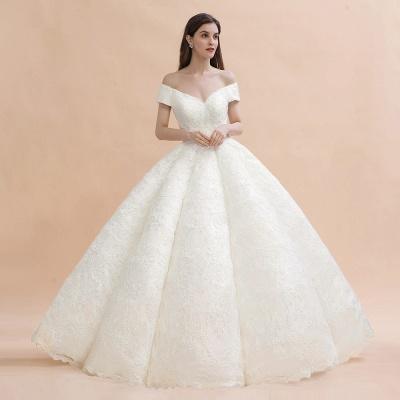 Elegante vestido de novia con apliques de encaje blanco fuera del hombro_5