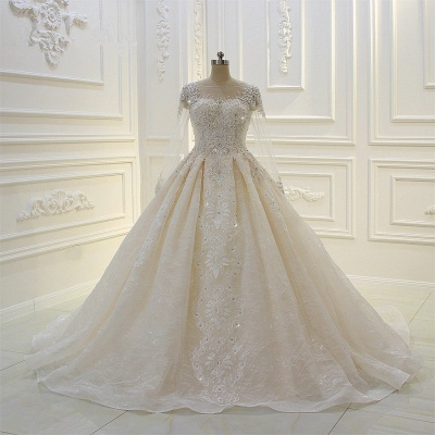 Luxury Ball Gown Long Sleeves Lace Applqiues Beadings Wedding Dress_5