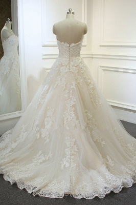 Sweeheart Sleeveless A-line Tulle Lace Appliques Bridal Gowns Floor Length Garden Wedding Dress_3