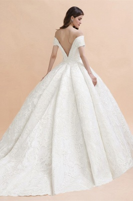 Off Shoulder Floor Length Bridal Gowns Lace Appliques Chapel Train Wedding Dress_2
