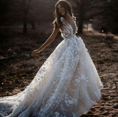 Romantische Elfenbein Spitze bodenlange A-Linie Puffy Princess Brautkleid_4