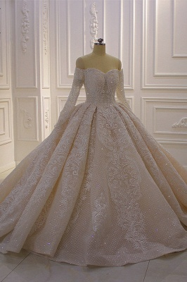 Long Sleeves Ball Gown Off-the-shoulder Sequins Wedding Dress_3