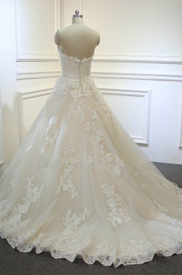 Sweeheart Sleeveless A-line Tulle Lace Appliques Bridal Gowns Floor Length Garden Wedding Dress_4