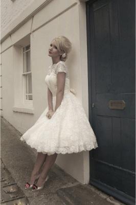 Elegant Short Sleeves Tulle Lace Appliques Mini Wedding Dress_3