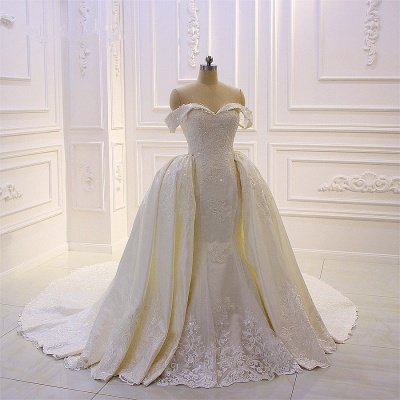 Sweetheart Lace Appliques Off-the-Shoulder Detachable Train Wedding Dress_6