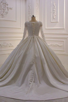 Ivory Long Sleeves Jewel Ruffles Flowers Bedaings Wedding dress_3
