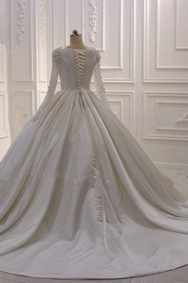 Ivory Long Sleeves Jewel Ruffles Flowers Bedaings Wedding dress_4