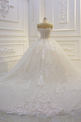 Off-the-shoulder Tulle Lace Appliques Sequined Wedding Dress_4