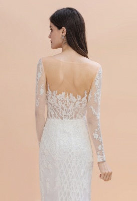 Luxury Beaded Lace Mermaid Wedding Dresses Tulle Appliques Bride Dresses with Detachable Train_9