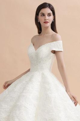 Elegante vestido de novia con apliques de encaje blanco fuera del hombro_9