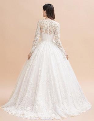 Glamorous Long Sleeve Beads White/Ivory Lace Appliques Wedding Dress_5