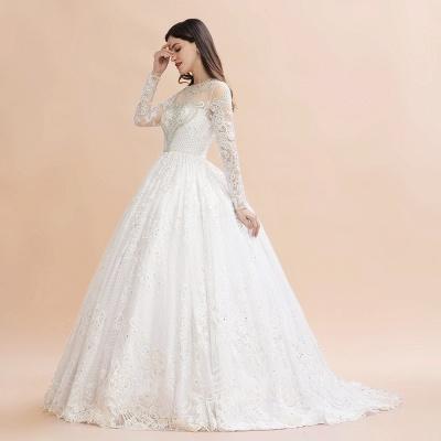Glamorous Long Sleeve Beads White/Ivory Lace Appliques Wedding Dress_7