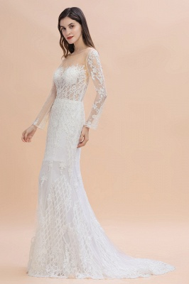 Luxury Beaded Lace Mermaid Wedding Dresses Tulle Appliques Bride Dresses with Detachable Train_6