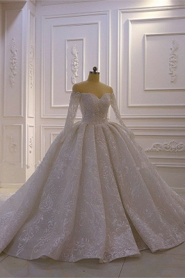 Luxury Ball Gown Long Sleeves 3D Lace Sweetheart Long Wedding Dresses_2