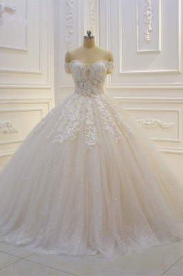 Off-the-shoulder Tulle Lace Appliques Sequined Wedding Dress_1