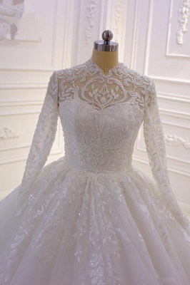 Sparkle Lace Ball Gown High Neck Tull Long Sleeves Wedding Dress_3
