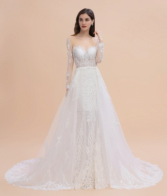 Luxury Beaded Lace Mermaid Wedding Dresses Tulle Appliques Bride Dresses with Detachable Train_10