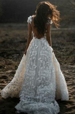 Romantische Elfenbein Spitze bodenlange A-Linie Puffy Princess Brautkleid_2