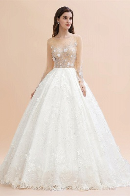 Charming Floral Lace Appliques Wedding Dress Gorgeous White Beads Bridal Gown_3