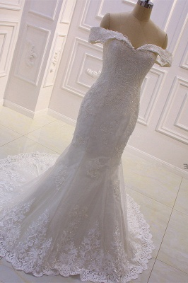 Sweetheart Lace Appliques Off-the-Shoulder Detachable Train Wedding Dress_4