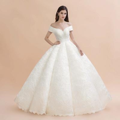 Elegante vestido de novia con apliques de encaje blanco fuera del hombro_4