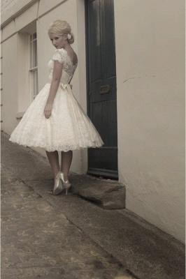 Elegant Short Sleeves Tulle Lace Appliques Mini Wedding Dress_5