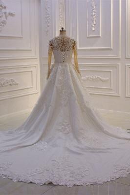 Elegant Jewel Long Sleeves Tulle Lace Sparkle Ivory Wedding Dress_2