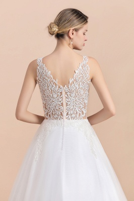 Elegant V-Neck Floral Lace A-line Wedding Dress Beach Sleeveless Tulle Church Dress_6