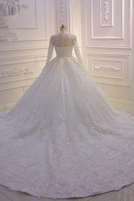 Sparkle Lace Ball Gown High Neck Tull Long Sleeves Wedding Dress_2