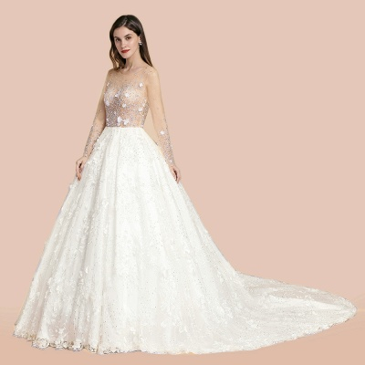Charming Floral Lace Appliques Wedding Dress Gorgeous White Beads Bridal Gown_8