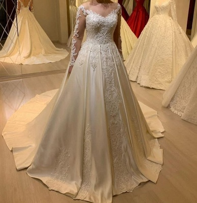 Elegant Off Shoulder Long Sleeves White Lace Satin Bridal Dress with Sweep Train_2