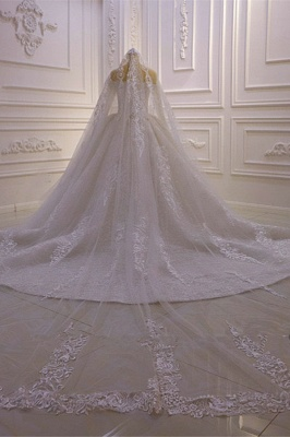 Luxury Ball Gown Long Sleeves 3D Lace Sweetheart Long Wedding Dresses_5