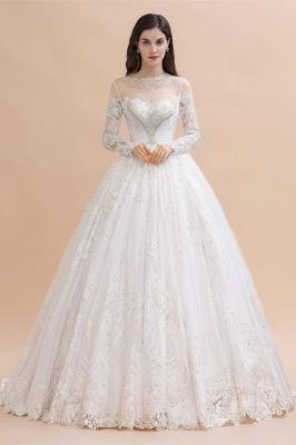 Glamorous Long Sleeve Beads White/Ivory Lace Appliques Wedding Dress_1