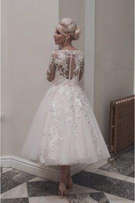 Vintage Ivory Long sleeves Lace appliques Short Wedding Dress_2