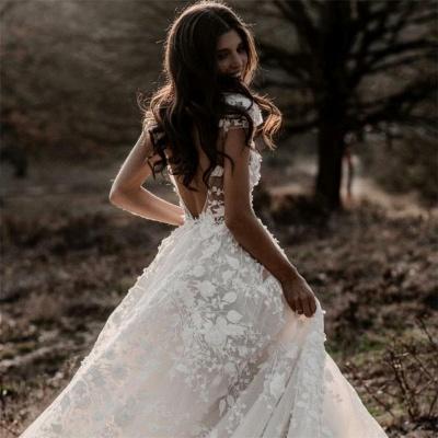 Romantische Elfenbein Spitze bodenlange A-Linie Puffy Princess Brautkleid_3