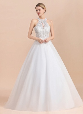 Gorgeous Halter Rhinstones Wedding Dress White Lace Appliques Tulle Garden Bridal Gowna_7