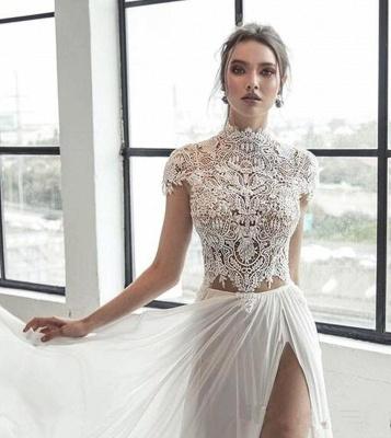 Шифоновое свадебное платье с длинными рукавами из шифона цвета слоновой кости | Элегантное длинное свадебное платье_5
