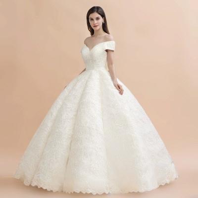 Elegante vestido de novia con apliques de encaje blanco fuera del hombro_8