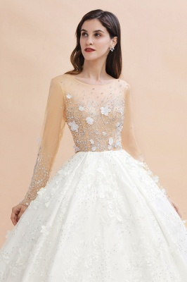 Charming Floral Lace Appliques Wedding Dress Gorgeous White Beads Bridal Gown_9