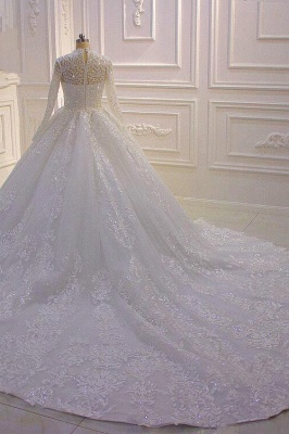 Sparkle Lace Ball Gown High Neck Tull Long Sleeves Wedding Dress_5