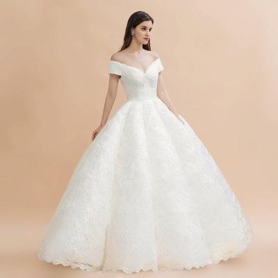 Elegante vestido de novia con apliques de encaje blanco fuera del hombro_6