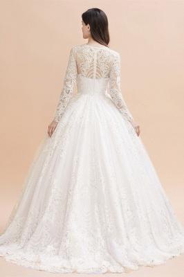 Glamorous Long Sleeve Beads White/Ivory Lace Appliques Wedding Dress_11
