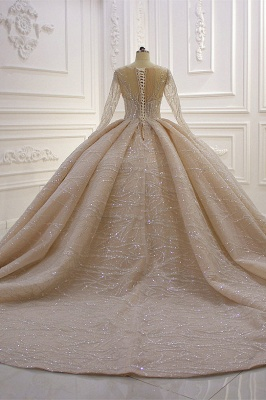 Shiny Ball Gown Tulle Jewel Long Sleeves Ruffles Wedding Dress_4