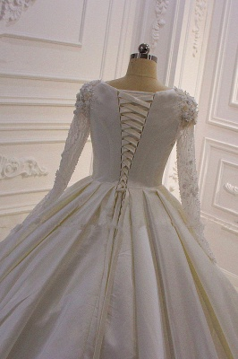Ivory Long Sleeves Jewel Ruffles Flowers Bedaings Wedding dress_5