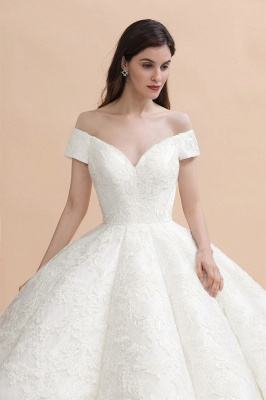 Off Shoulder Floor Length Bridal Gowns Lace Appliques Chapel Train Wedding Dress_3